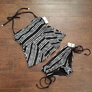BONGO Juniors Tankini Black White Striped NWT Sz S